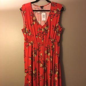 Torrid floral dress burnt orange size 00